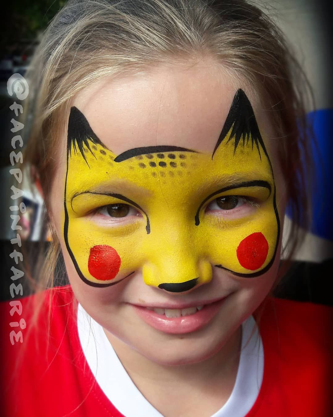Kids Love When I Tell Them I Can Paint Pikachu Face Paint By Shawnafae Of Threewishe Pikachu Face Painting Superhero Face Painting Face Painting Halloween