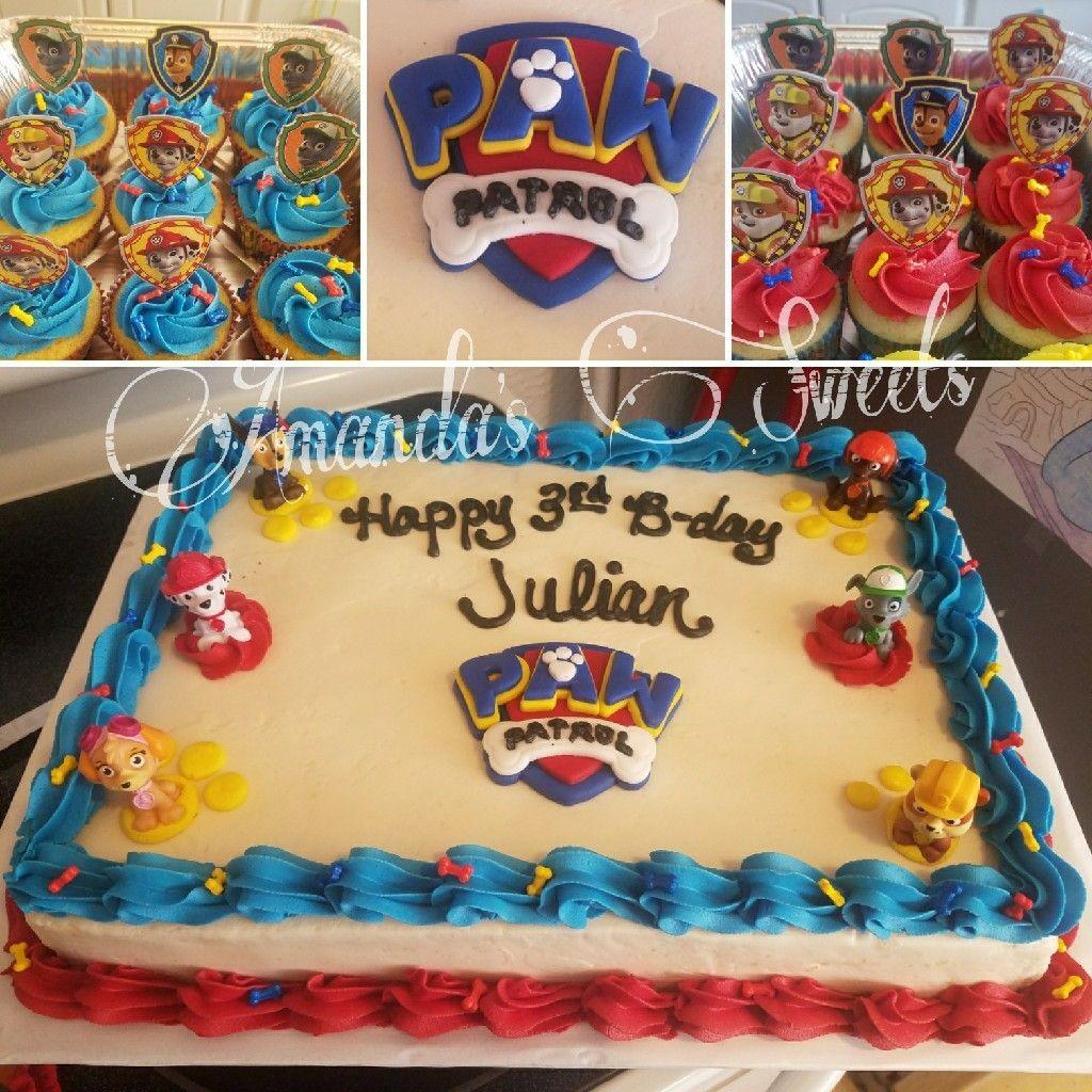 Paw Patrol Half Sheet Cake With Matching Cupcakes Paw