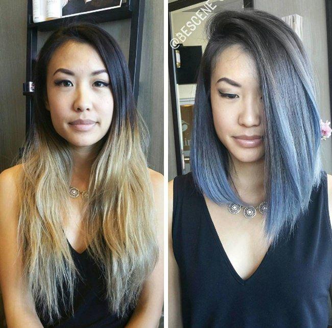 Silver Blue Ombre Short Hair