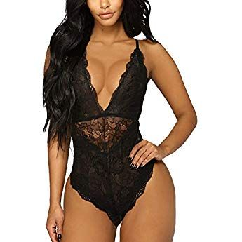 808f44f1c Ridkodg Women Deep V Sexy Lace Bodysuit Snap Crotch Lingerie Teddy  Underwear (Black