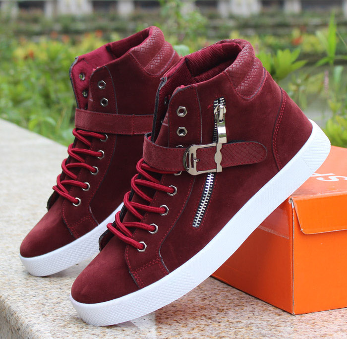 f56445d99084 Mens Trendy High-Top Ankle Strap Sneakers