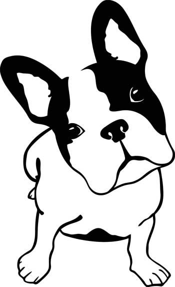 Coloriage De Chien Bouledogue Pochoir Silhouette Stickers Animaux