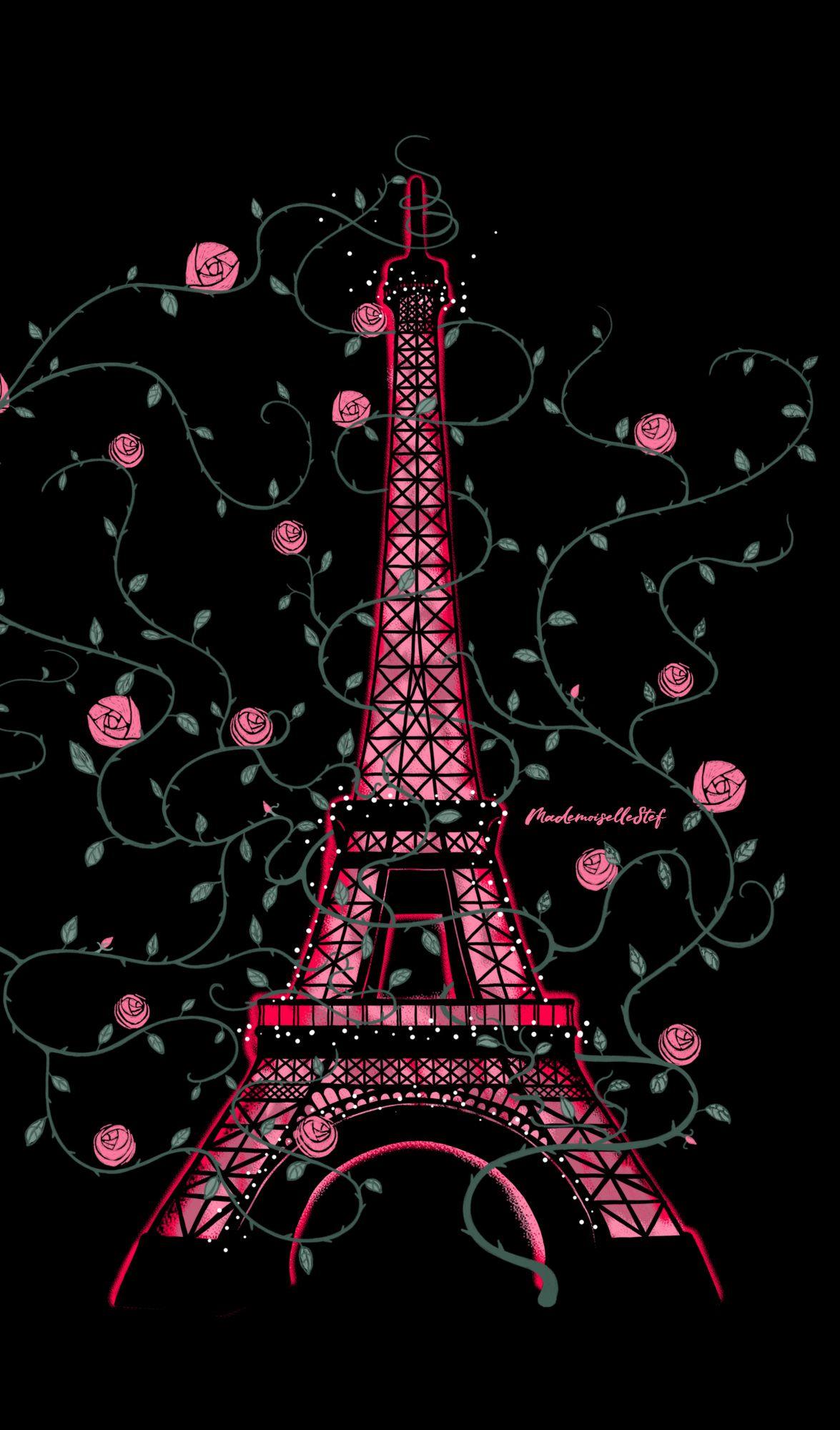Fond D Ecran Paris Sous Les Roses I Mademoiselle Stef Fond Ecran Paris Fond Ecran Papiers Peints Mignons