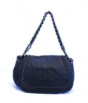 Chanel Luxe Ligne Black Leather Chain Shoulder Flap Bag