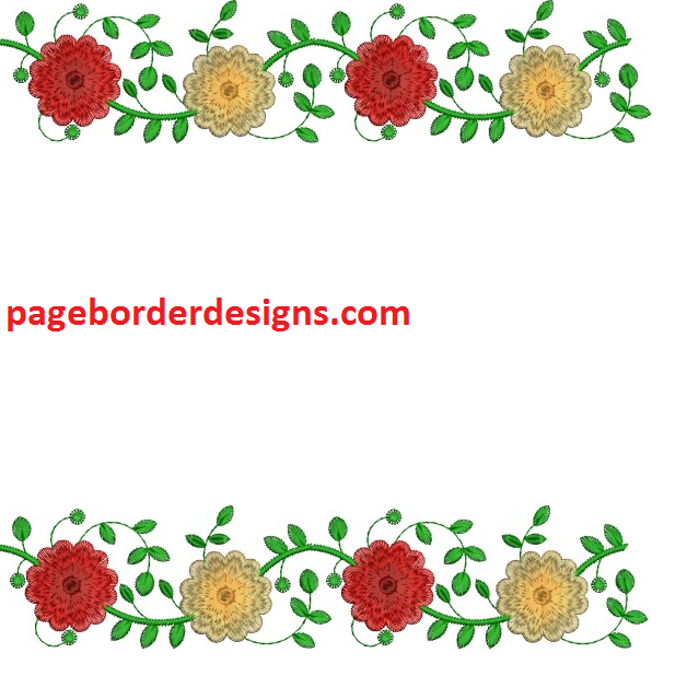 Embroidery flowers border designs for bed sheets