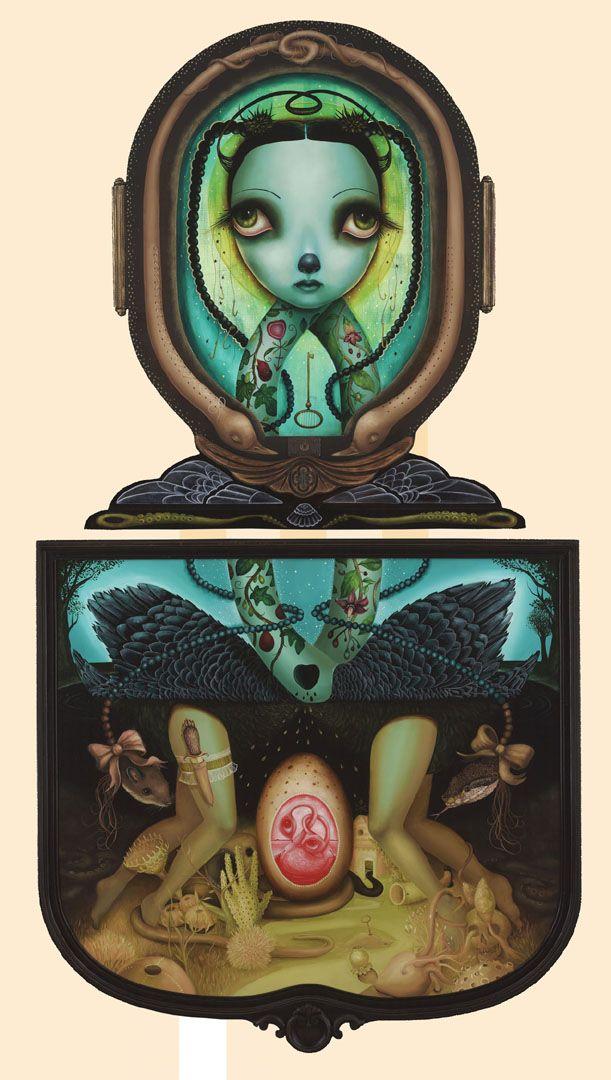 "'Treacherous Gardens' oil on wood, diptych, antique frames 30""x27.5"" and 32""x33.5"", 2009 by Jennybird Alcantara"