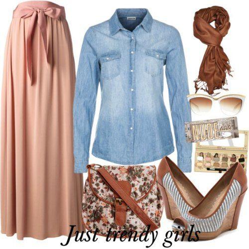 denim pastel Mix and match your maxi skirt http://www.justtrendygirls.com/mix-and-match-your-maxi-skirt/