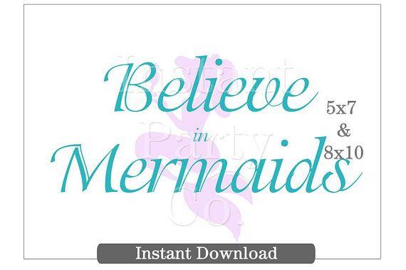 Mermaid sign | Believe in mermaids sign | Mermaid party