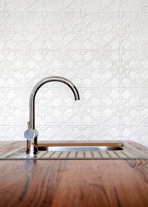 pressed metal kitchen wall