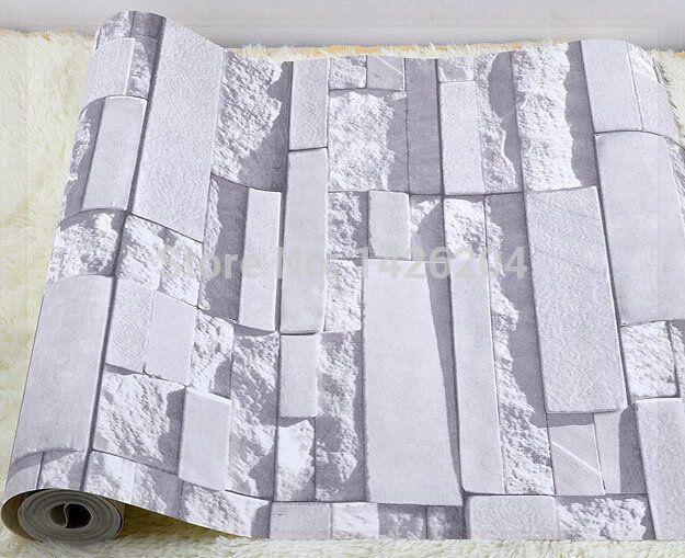 Gran pared de ladrillo gris de fondo de pared papel tapiz para sala de estar 3d wallpaper - Revestimiento paredes imitacion piedra ...