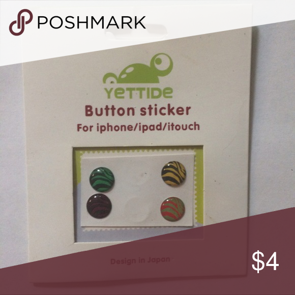Apple buttons 4 zebra print buttons for your apple products Accessories