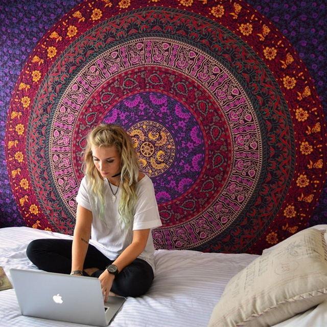 Indian Mandala Tapestry Hippie Wall Hanging Digital Printing Beach Mat Sunscreen Square Shawl Mandala Tapestries Wall Hangings Mandala Tapestry Boho Tapestry