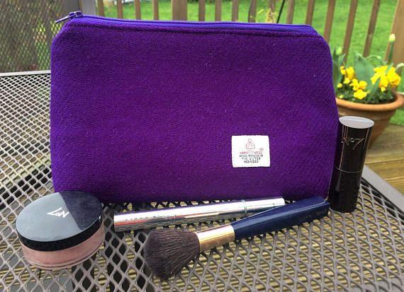 Harris Tweed Makeup Bag Purple Cosmetics