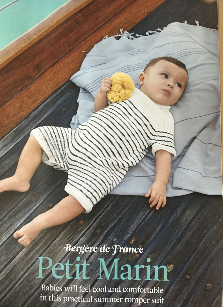 KNITTING PATTERN Baby Striped Romper Suit Short Sleeve Bergere de France PATTERN  | eBay