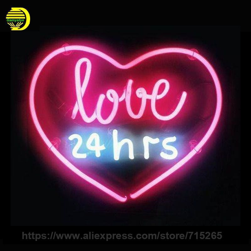 Neon Sign Real Glass Love 24hrs Light Beer Pub Restaurant Home Display Arcade Signs