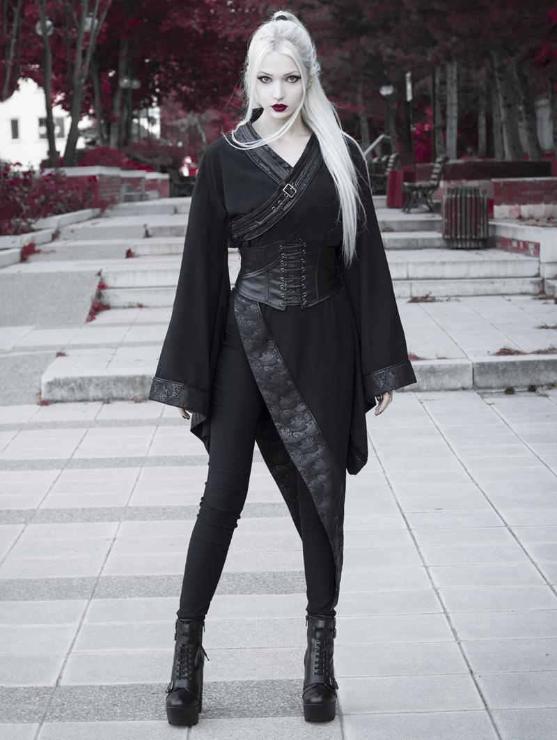 Dark Gothic Punk Asymmetric Kimono For Women