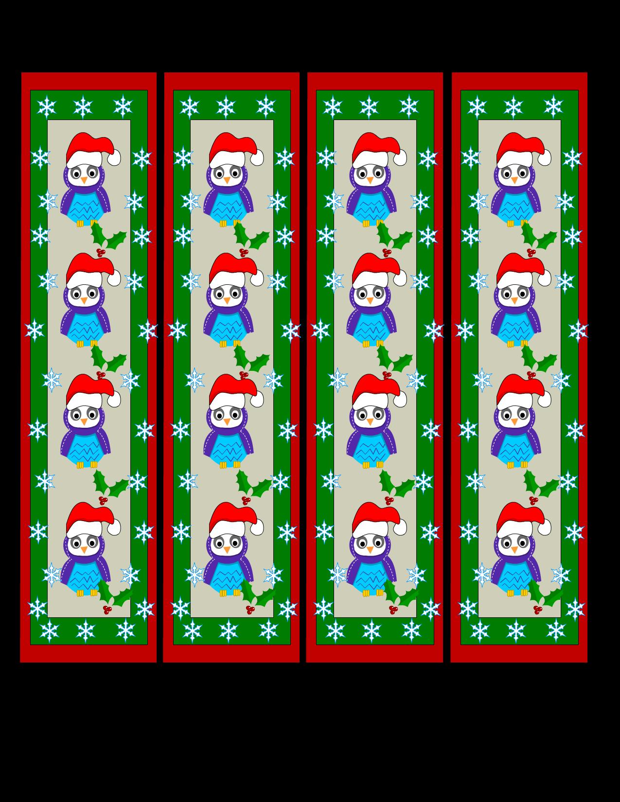 Free Printable Christmas Bookmarks With Owls Cute Bookmarks Bookmarks Kids Christmas Bookmarks