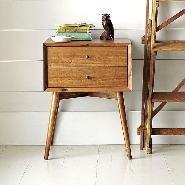 New Wooden Nightstand With Mid-Century Modern Style