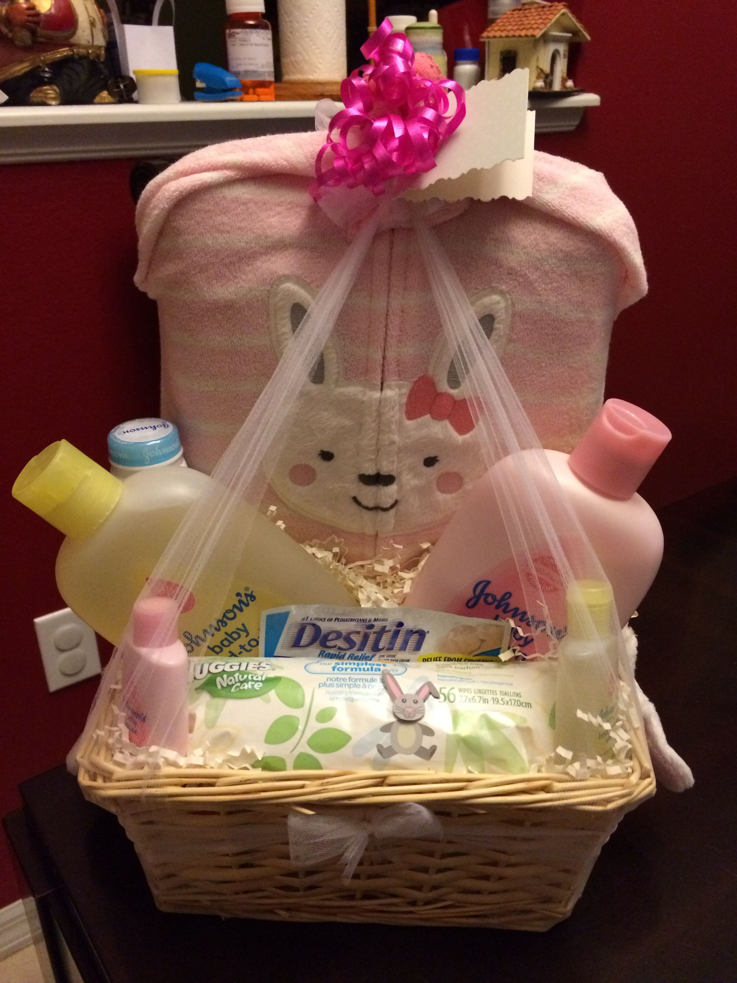 DIY Baby shower gift basket for girl... Contains diapers, bath ...