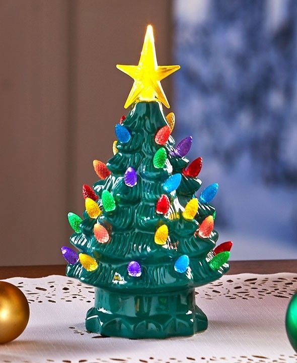 battery operated christmas tree tabletop retro lighted holiday decor green small