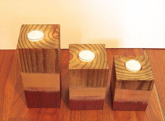 casa decoración vela, sostenedor de vela de roble, luz del té rústico, país decoración, Portavelas de madera, sostenedor ligero del té, centro de mesa rústico