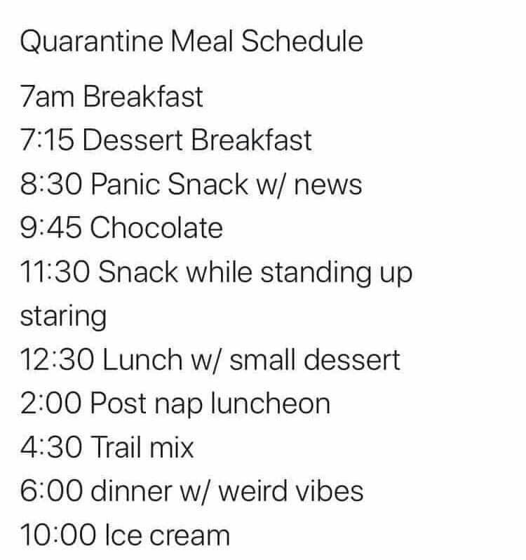 Pin By Hollie Ketcher On 2020 Nuff Said In 2020 Meal Schedule Breakfast Dessert Just For Laughs