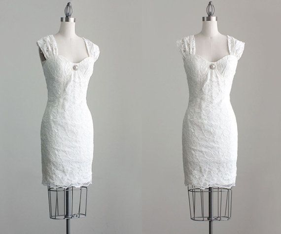 90s Vintage Ivory White Lace Bustier Wedding Mini Dress by decades, $220.00