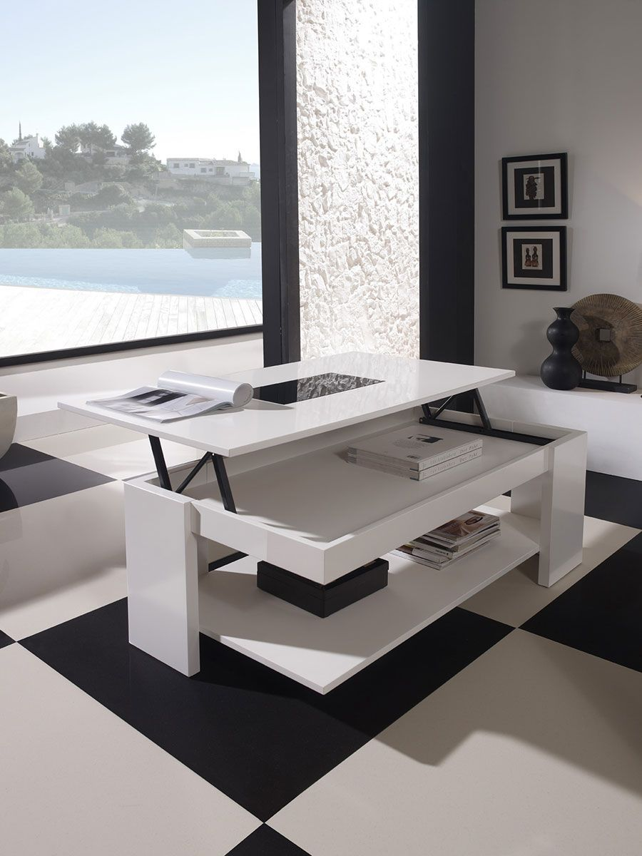 Table Basse Relevable Design Allan Laqu E Blanche Salon Design  # Table Basse En Verre Tele