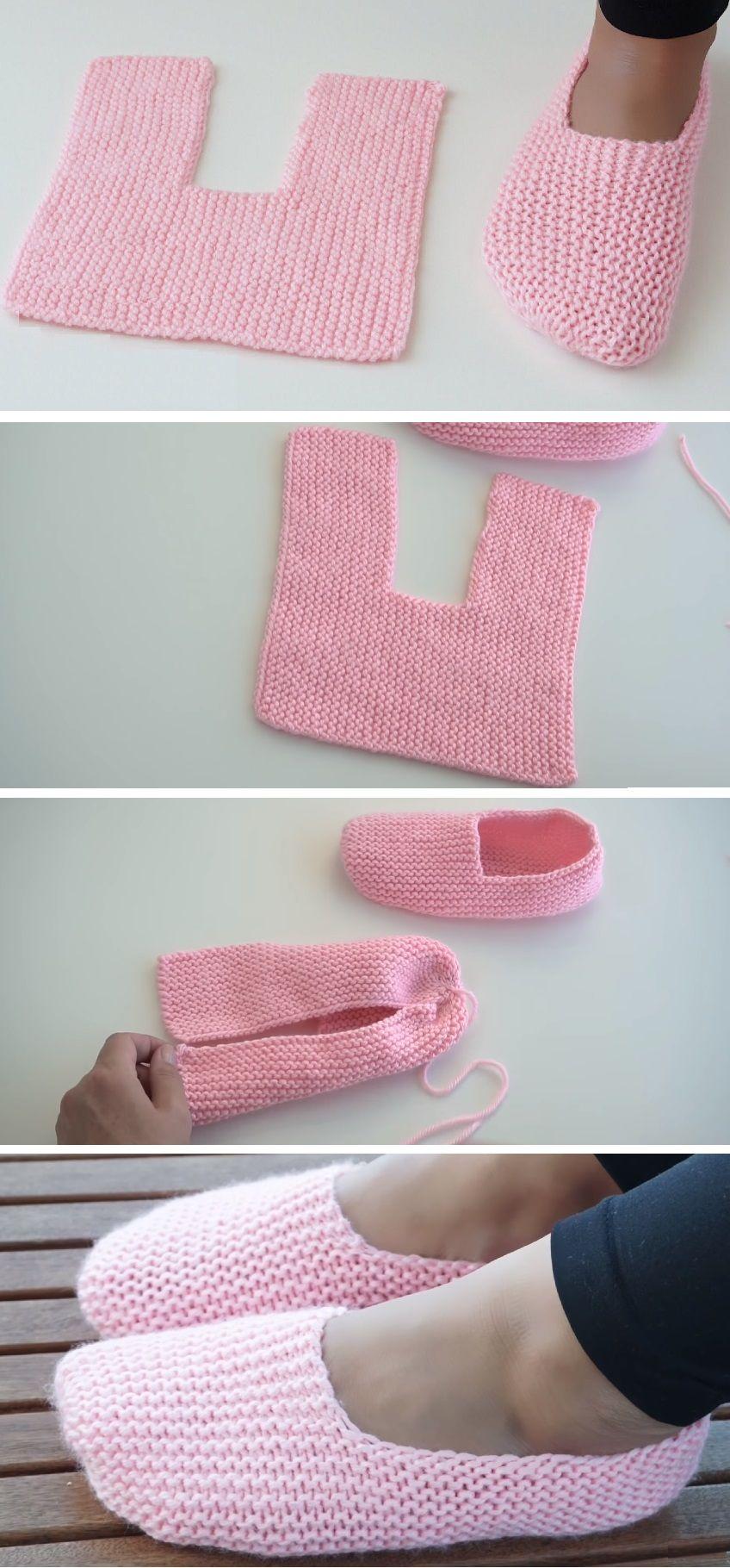 Super leichte Hausschuhe zum Häkeln oder Stricken #knittingideas