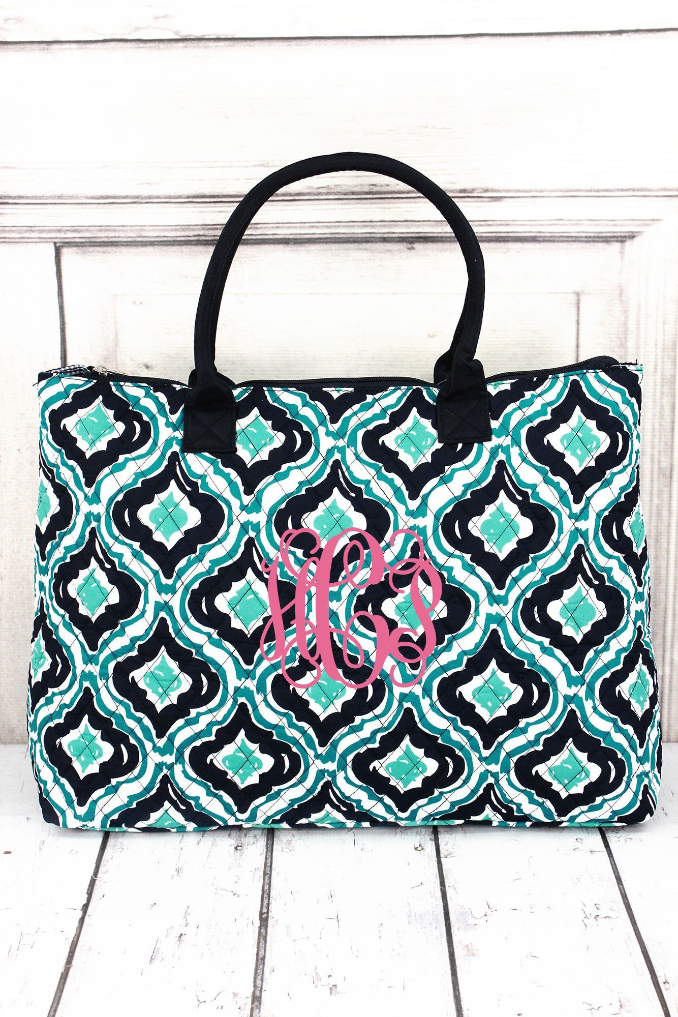 Retro Moroccan Quilted Large Shoulder Tote with Navy Trim #HOL3907-NAVY