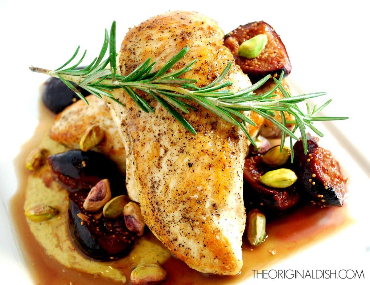 Seared Chicken with Pistachio Yogurt, Caramelized Figs & Port