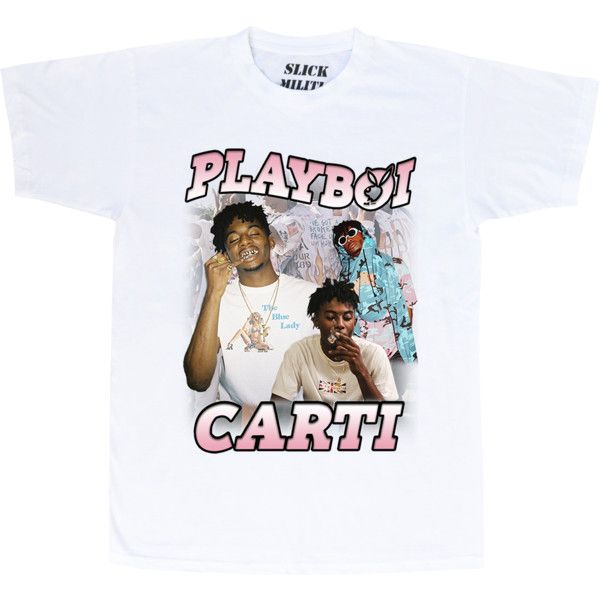 56bc4de59 Playboi Carti 'Ba$h Barti' Tee ❤ liked on Polyvore featuring tops, t-shirts,  white tees, cotton t shirts, white cotton tops, cotton tees and white tops