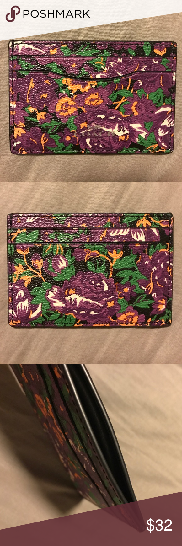 Coach purple floral card case Coach cardholder. Two card slots on each side & one card slot on top. Gorgeous purple floral print all over, front & back. Coach Bags Wallets