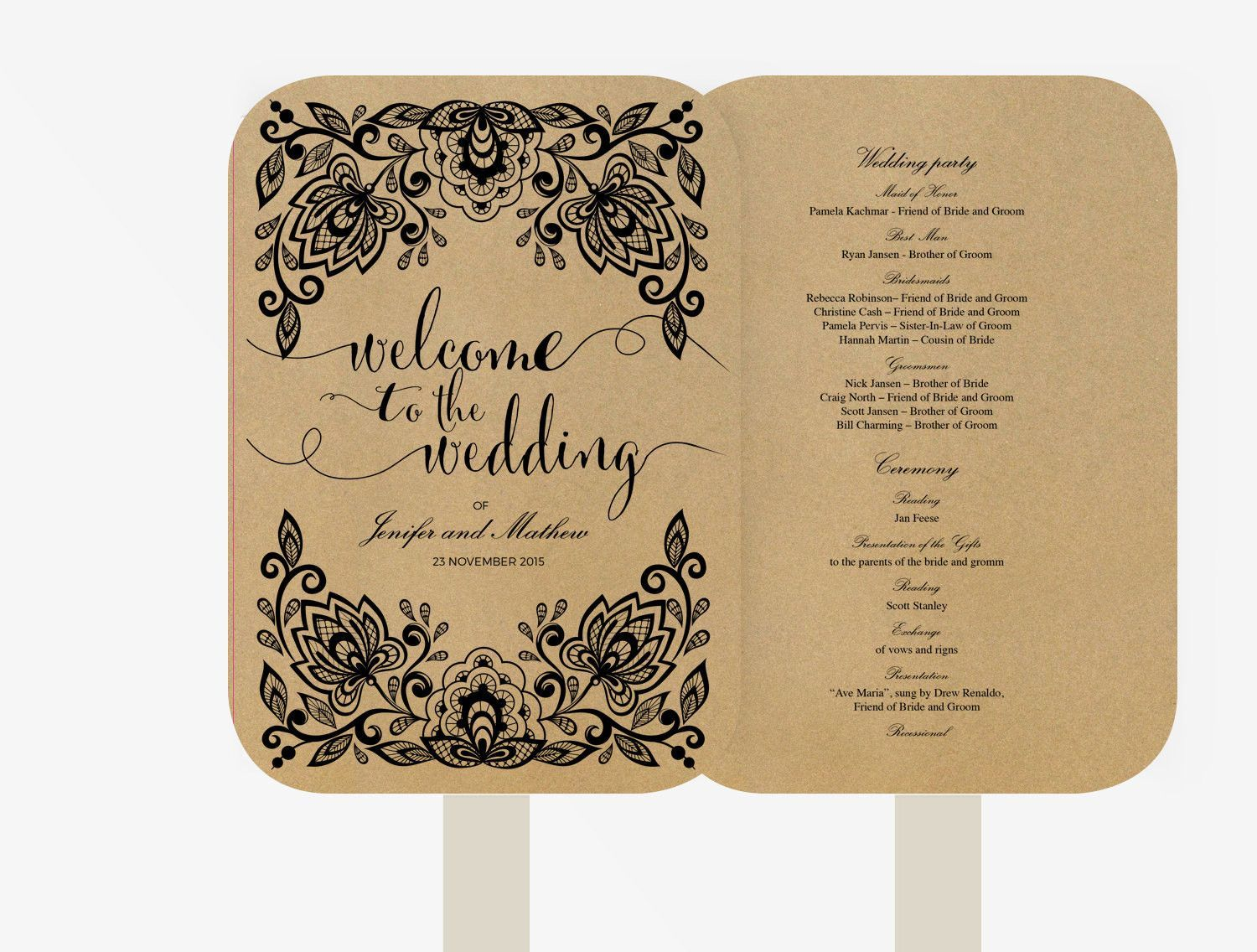 wedding fan program editable ms word template diy kraft white text lace black