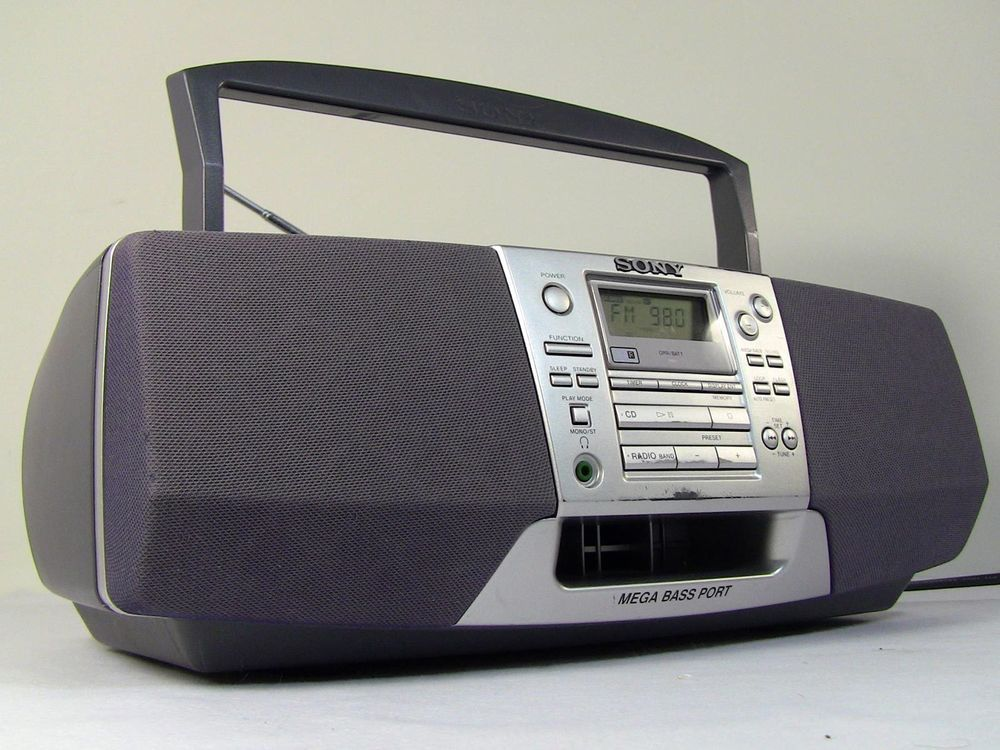 sony boombox. sony boombox cfd-s38 am/fm cassette recorder compact disc cd portable stereo #
