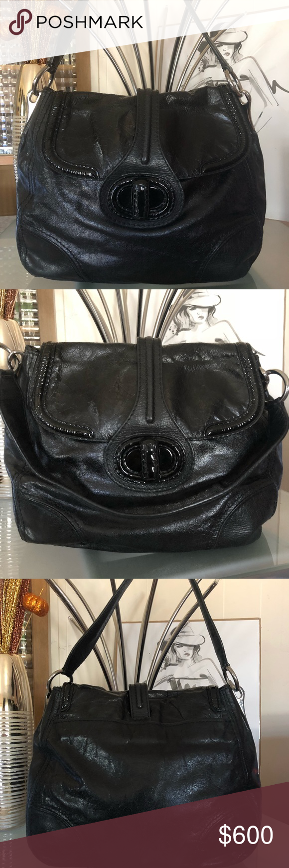 6448409afcb1 Authentic Large Prada Black Leather bag 100% Authentic Prada Bag Black  leather with metallic look. Large size Very clean inside and out No stains  inside ...