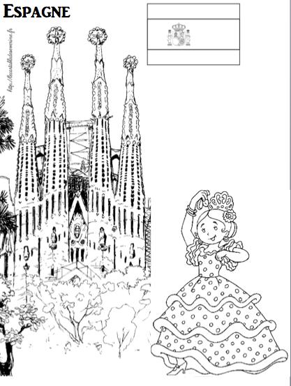 Coloriage espagne coloring page spain holidays spain et flamenco - Drapeau espagnol a colorier ...