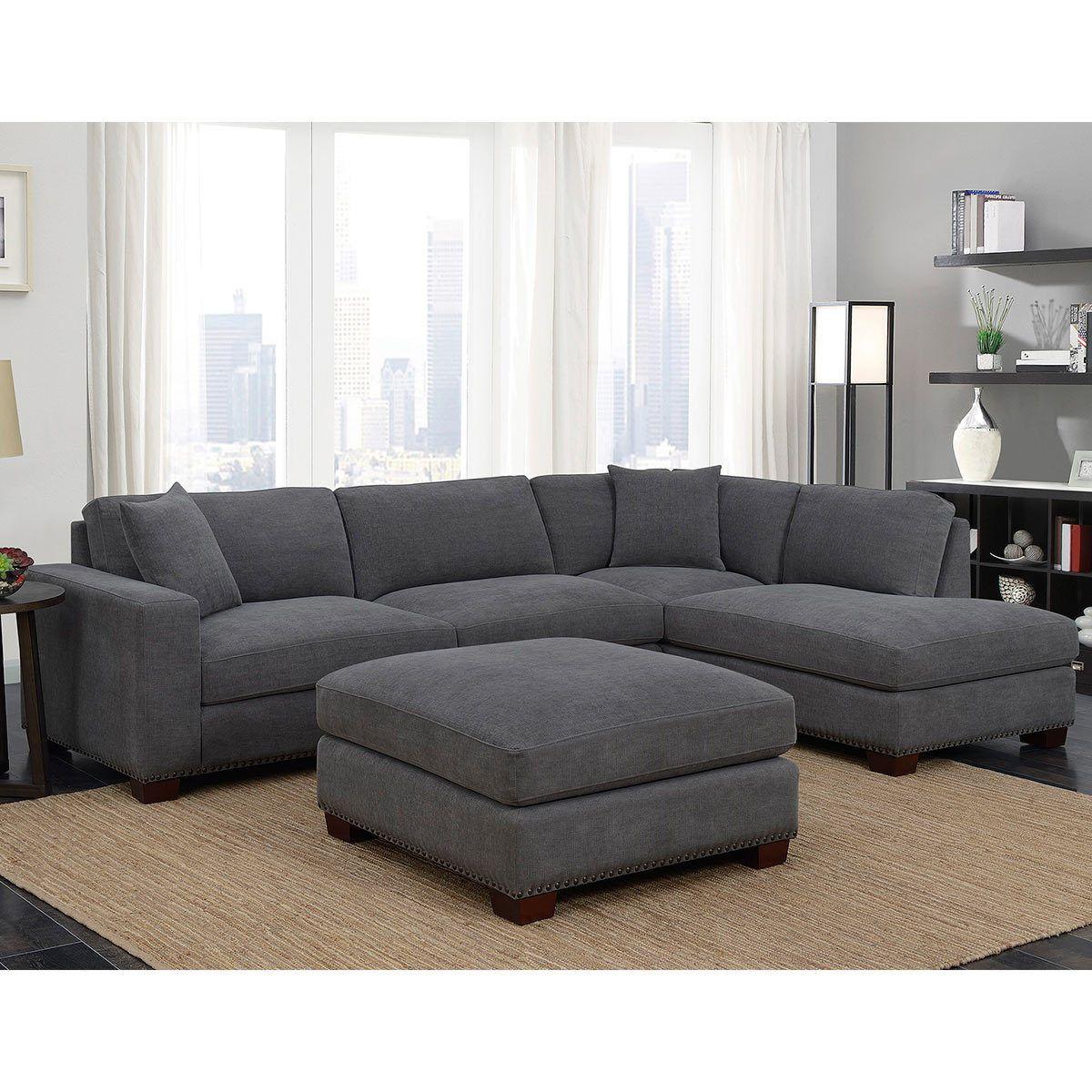 Bainbridge Home 3 Piece Grey Fabric Sectional Sofa With Ottoman