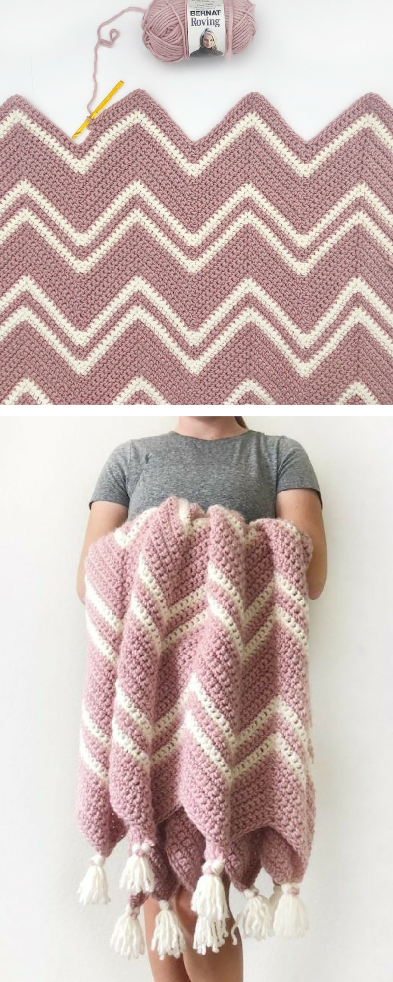 Free Pattern - Crochet Pink Chevron Throw #tejidos