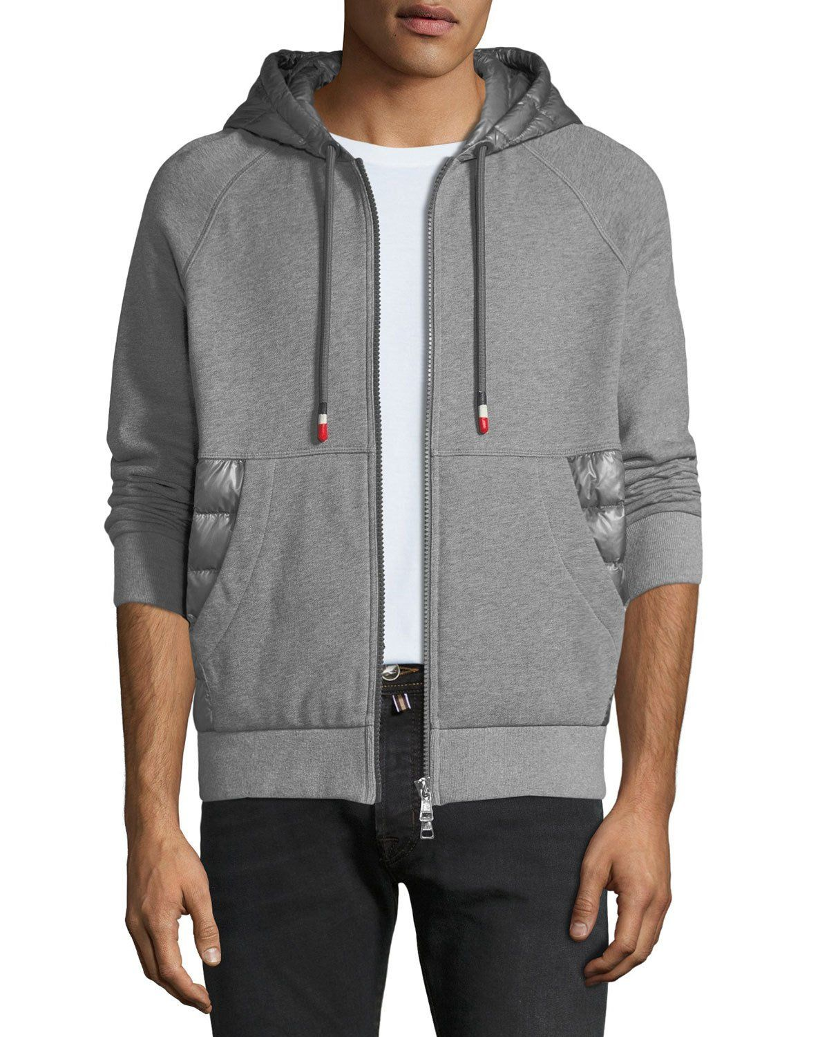 3f15ed259baa MONCLER MEN S ZIP-FRONT HOODIE WITH PUFFER INSETS.  moncler  cloth ...