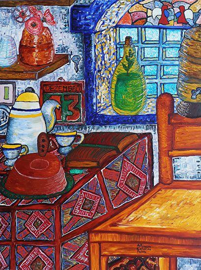 Breakfast to a Dead Man - Café da Manhã para um Homem Morto by Allisson Ester de Paiva Oil ~ 80 cm x 60 cm