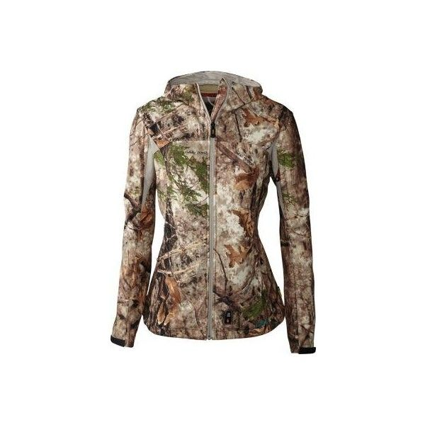 Cabelas Women's Heated Performance Camo Soft-Shell Jacket Zonz... ❤ liked on Polyvore featuring activewear and activewear jackets