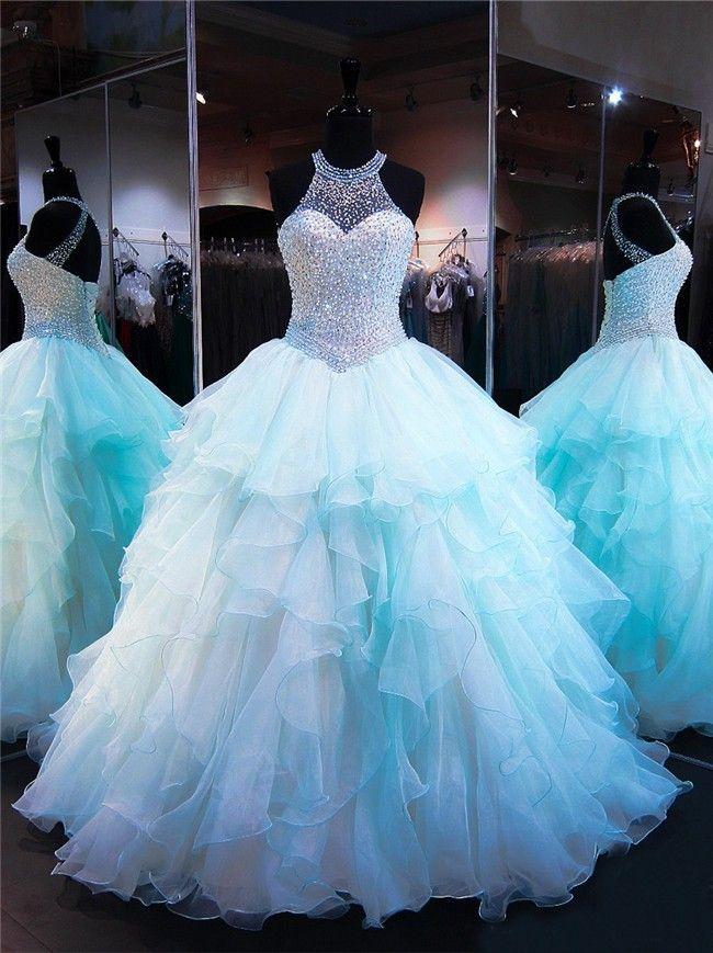 Ball Gown Halter Light Aqua Organza Ruffle Beaded Quinceanera Prom Dress