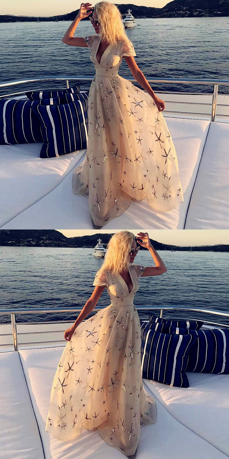 Deep vneck light champagne long prom dress with sleeves appliques