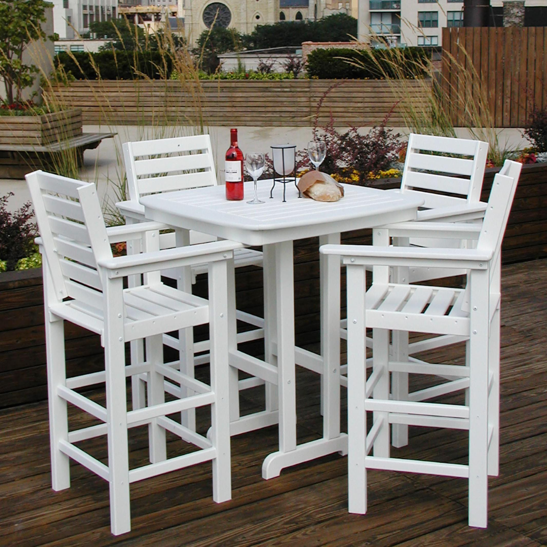 Polywood Captain 5 Pc Recycled Plastic Bar Height Dining Set