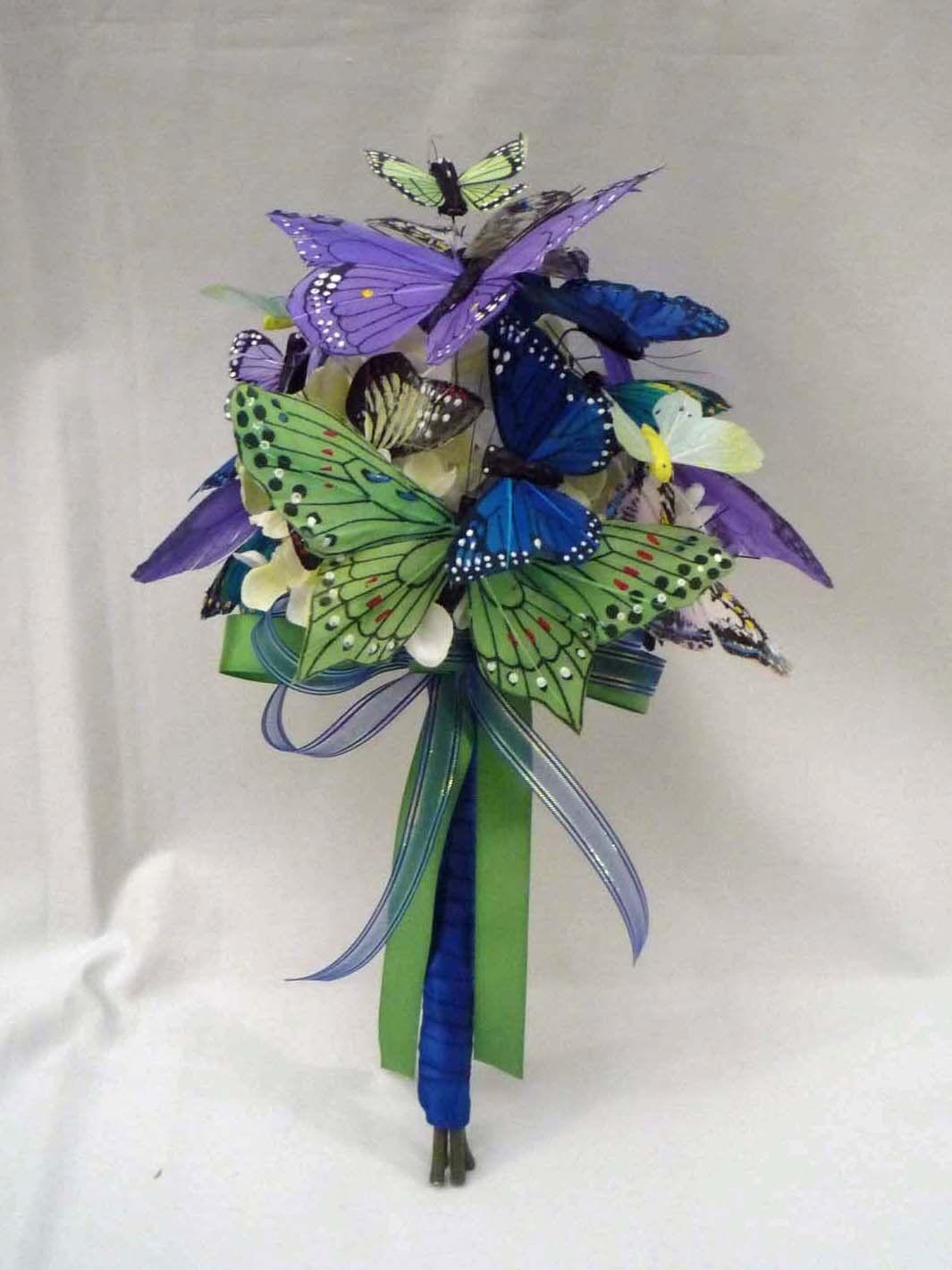 Green Blue & Purple Butterfly Wedding Bouquet by justanns