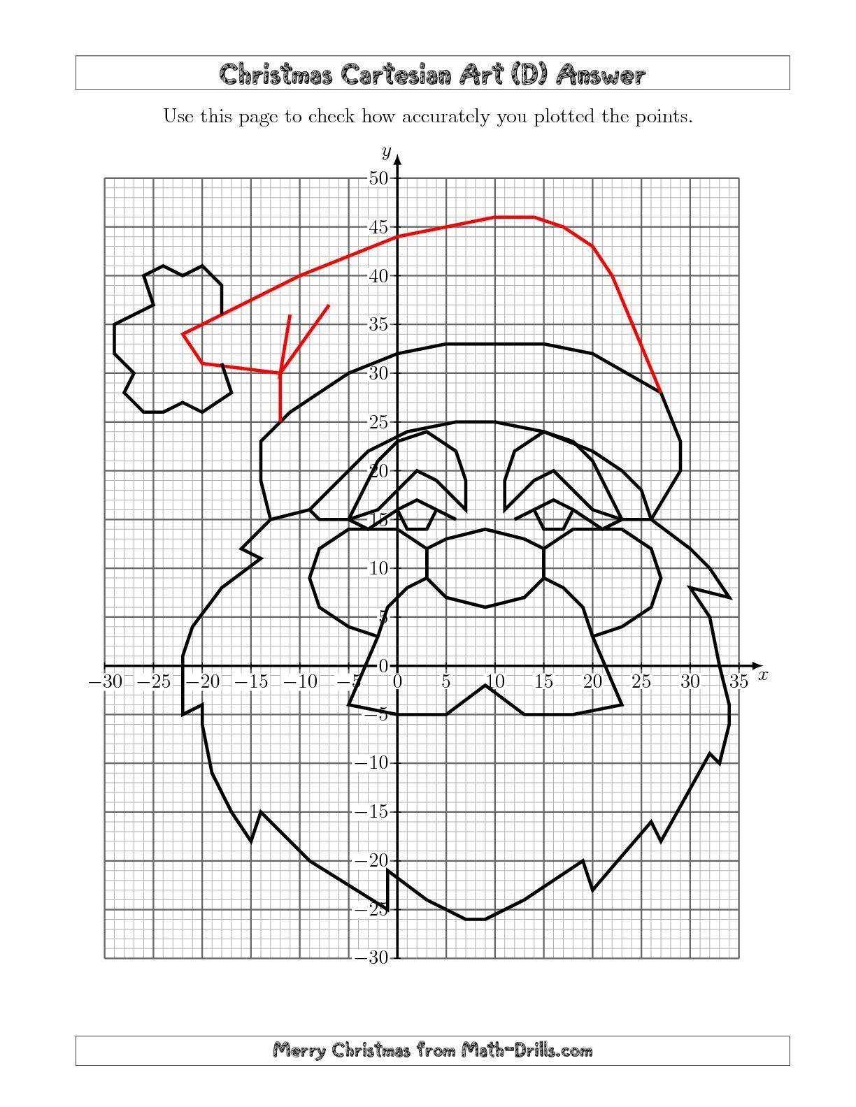 The Christmas Cartesian Art Santa (D) math worksheet from the Christmas  Math Worksheet page at Math-Dr…   Coordinate graphing [ 1584 x 1224 Pixel ]