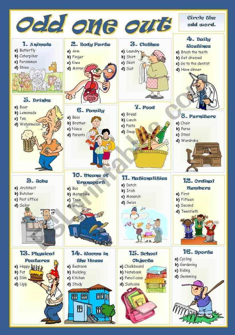 Students Have To Circle The Odd Word In Each Group Esl Worksheets Vocabulary Worksheets Activities [ 1169 x 821 Pixel ]