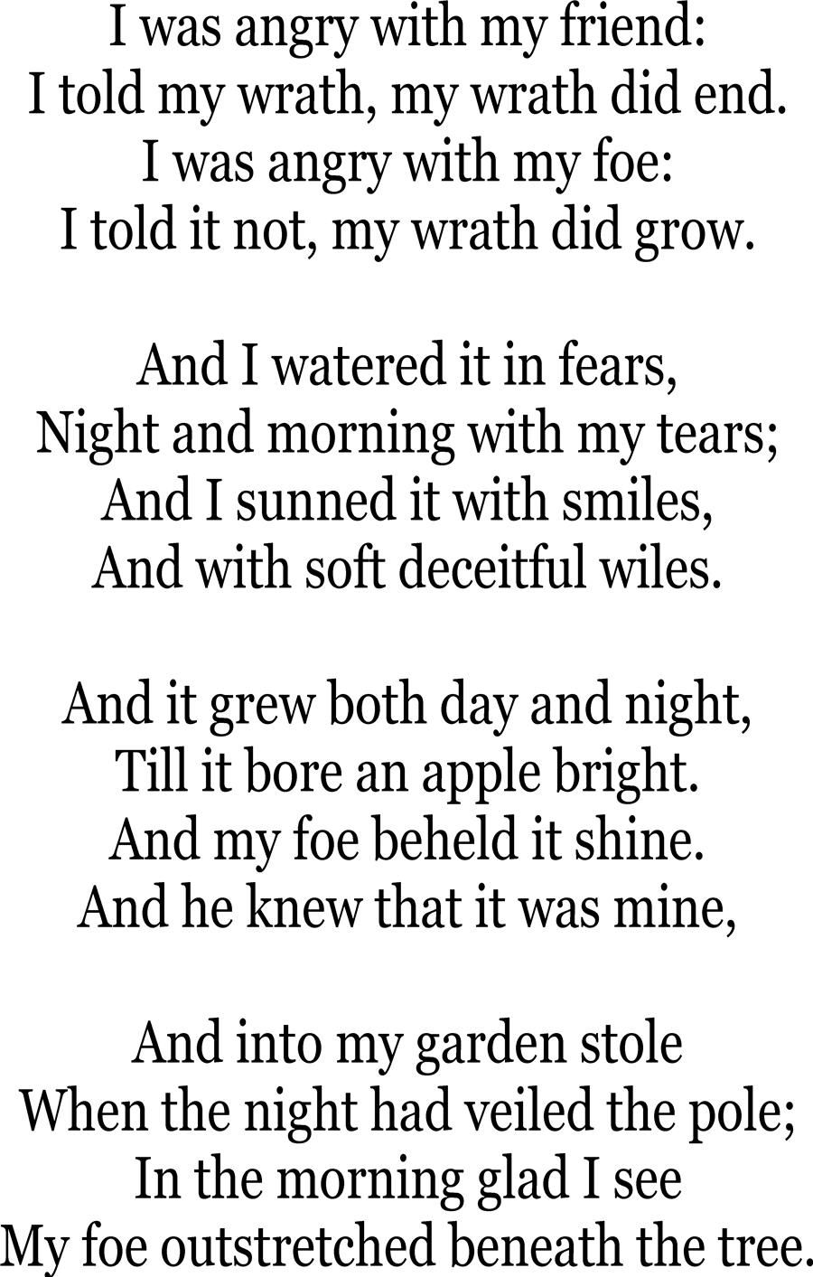 A poison tree- William Blake (this was on a compare/contrast essay ...