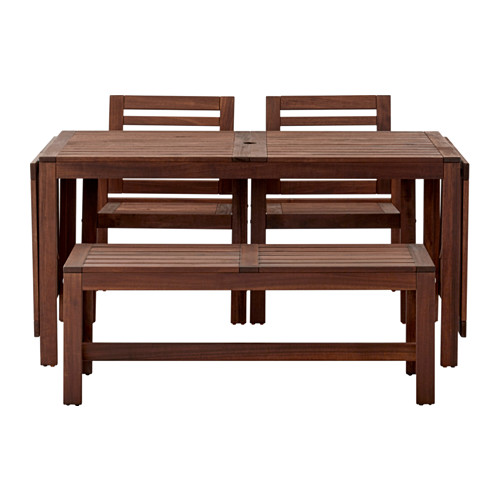 Applaro Table 2 Armchairs And Bench Outdoor Brown Stained